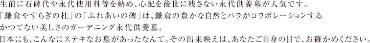 生前に石碑代や永代使用料等を納め、心配を後世に残さない永代供養墓が人気です。「鎌倉やすらぎの杜」の「ふれあいの碑」は、鎌倉の豊かな自然とバラがコラボレーションするかつてない美しさのガーデニング永代供養墓。日本にも、こんなにステキなお墓があったなんて。その出来映えは、あなたご自身の目で、お確かめください。